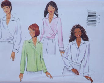 """1990s Butterick 6217 Sewing Pattern Misses' Loose Fitting Blouse Straight or Wrap Variation UNCUT FF Sizes 8-10-12 Bust 31.5-34"""""""