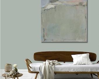 Minimalist Abstract Landscape Canvas Print, Ready to Hang, Hazy Beach DIY Home Decor, Large Wall Art, Sunset Art, Coastal Decor, Beach House