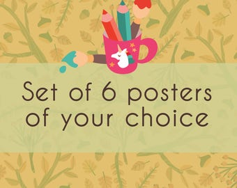 Set of 6 posters, choose your fav illustrated prints from my shop! Set of children prints, for kids room, nursery, living room or studio