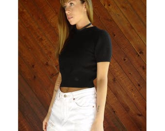 Black Wool Benneton Crop Knit Sweater - Vintage 90s - XS
