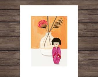 Kokeshi With Flowers: Pink, Giclee Print