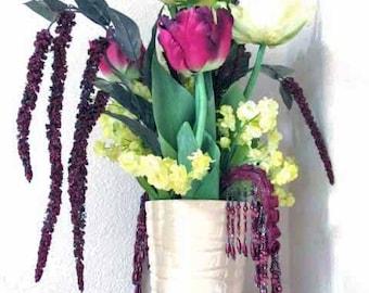 Burgundy Dark Plum and Light Yellow Silk Parrot Tulip Tall Weeping Floral Centerpiece Arrangement