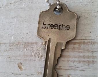 Hand Stamped Vintage Key Necklace Breathe