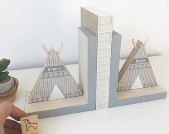 TeePee Bookends, Gender Neutral, Personalized Gift, Tribal Nursery Decor, Gray Nursery, Aztec Kids Decor,  Aztec Nursery, Southwest