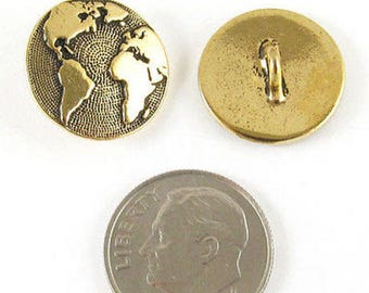 TierraCast Pewter Buttons-Gold Plated Earth Map (2 Pcs)