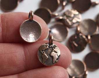 Copper Earth Charms, 2+ TierraCast Antiqued & Plated Earth Day Charms, Small World Continent Pendants, Lead Free Pewter