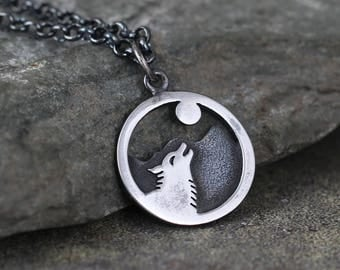 Wolf and Moon Pendant - Sterling Silver Rustic Necklace - Camping and Outdoor - Nature Inspired Jewellery