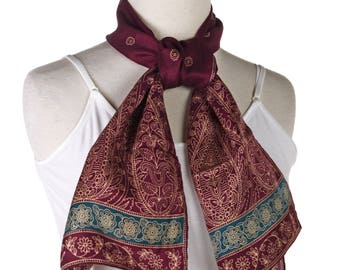 Burmel Silk Blend Vintage Fashion Scarf - Purple Oriental Pattern - Oblong 10 x 46