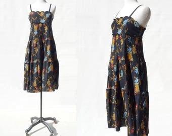 1970s Floral Dress Vintage 70s Dress Black Floral Dress Floral Midi Dress 70s Floral Dress Sleeveless Dress s to m