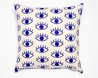 I Only Have Eyes For You - cobalt blue, organic, hand printed pillow, eye pattern, evil eye cushion, monochromatic decor