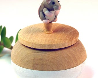 Tiny Wood Trinket Box with Lampwork Glass Grey Mouse Knob/Finial