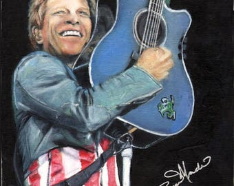 Jon Bon Jovi.  A print from the original painting by artist, Roseann Madia