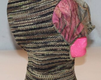 Vintage Wool Knit Camo Ski Type Mask with Netting,by Advantage, 1980's