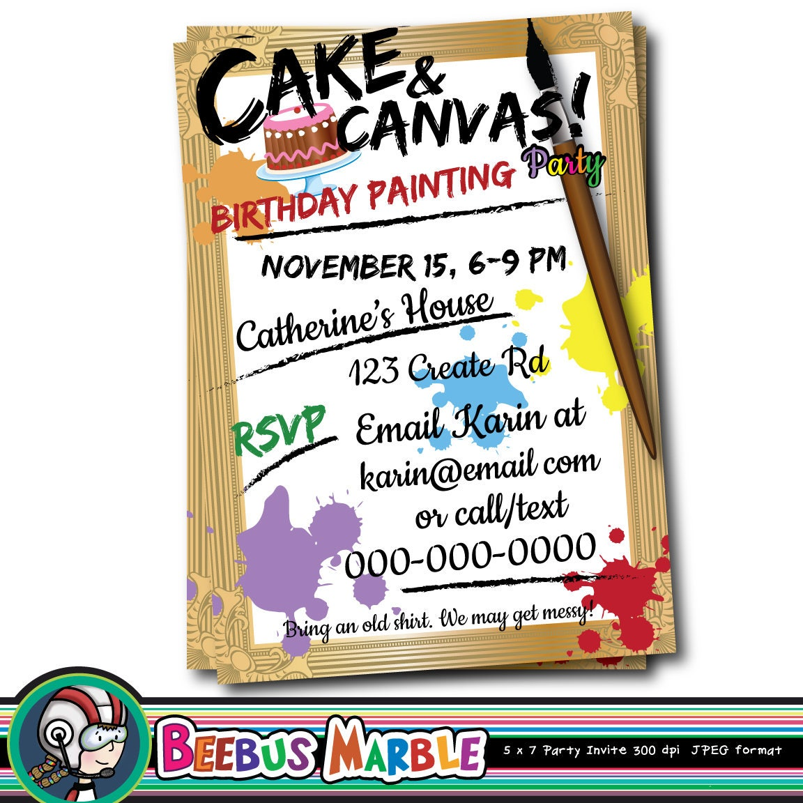 Art Party invitation, Printable Digital Download 5 x7 inch, Cake ...