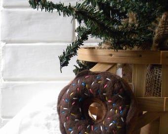 Chocolate Iced Donut Ornament