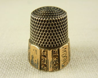"""Vintage 1889 Simons Brothers Sterling Thimble Engraved """"MKW"""" Size 10"""
