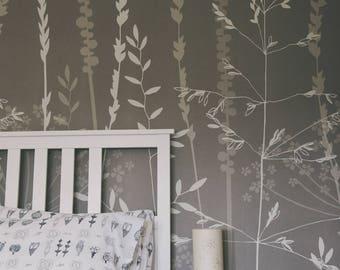 Silver Grey Floral Botanical Wallpaper Mural / In the Tall Grass / Kraft / Hannah Nunn