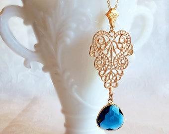 Blue Pendant Necklace - Long - Layering Necklace - Bohemian Blue - RHAPSODY Blue