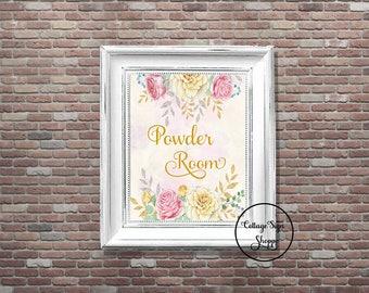 Powder Room, Ladies Bathroom Sign, Powder Room Art, DIGITAL, YOU PRINT, Womens Room Sign, Girls Bathroom Sign, Cottage Powder Room Sign