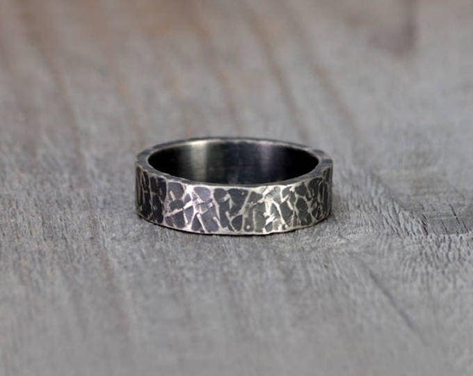 Oxidised Cross Textured Wedding Band in Sterling Silver With Personalized Message Inside, 5.5mm Wide Rustic Wedding Ring