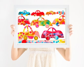 Nursery Art Print Cars, Gender Neutral Nursery, Printable Wall Art, Girls Nursery Art, Boys Nursery Art