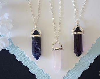 Spear Gemstone Necklace, Purple Necklace, Pink Spear Pendant, Sterling Silver, Amethyst Sodalite Rose Quartz, Blue Pendant, Layer Necklace