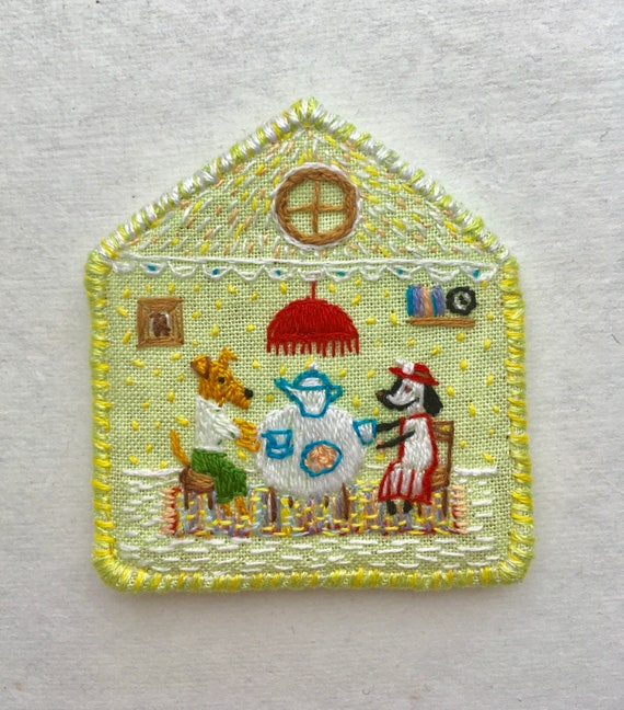 Brooch Tea Time with Terrier -  Funny Dogs - collection, hand embroidered textile dog jewelry. Terrier brooch.