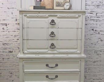 Chest of Drawers, White Cottage Style - Chic DR601 Shabby Farmhouse Chic, Dresser, Nursery Furniture
