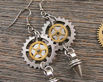 Steampunk Earrings - Industrial Style - Mixed Metal Watch Gear & Spike Charm Dangle Earrings