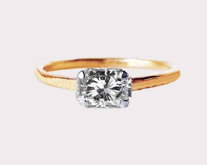 Forever Yours_ 14K Rose Gold Radiant Diamond Engagement Ring