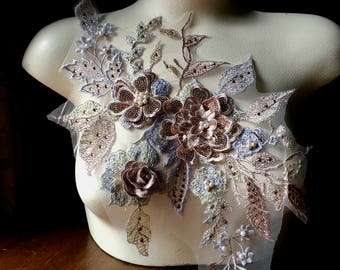 Metallic ROSE GOLD & Silver 3D Applique , Beaded and Embroidered for Lyrical Dance, Ballet, Couture Gowns F18-2