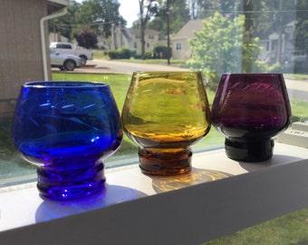 Vintage Cut Glass - Set of 3 Colored Shot Glasses - Cobalt Purple Amber