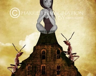 Pop Surrealism Art Print - Pop Surrealism Wall Decor - Pop Surrealism Girl - Ant Art Print - King Of The Castle