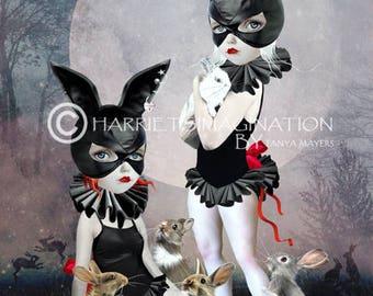 Pop surrealism Art Print - Rabbits Art Print - Rabbit Rendezvous