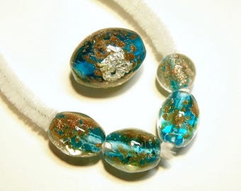 DESTASH - Five (5) Coordinating Oval Teal Blue Lampwork Glass Beads with Goldstone, Silver Foil, and Gold Foil