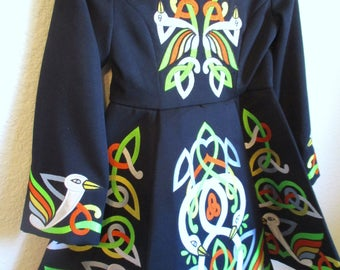 Vintage Girls Irish Dance Dress Navy Green Lace Collar Celtic Bird