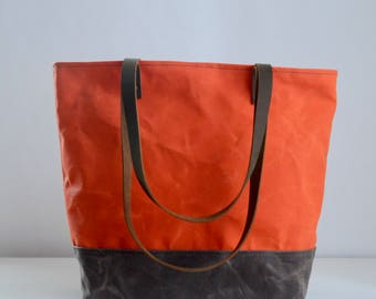 Orange Waxed Canvas Tote Bag with Leather Straps - Ready to Ship