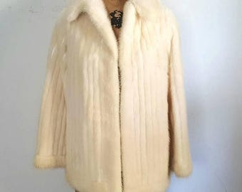 SALE Ivory Mink Fur Stole Jacket / bridal wedding coat / Small