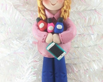 Girl Teenager Christmas Ornament - Gift for Teen Tween - Cell Phone and Nail Polish Ornament - Personalized Christmas Ornament -857