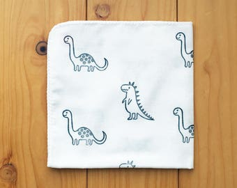 dinosaur handkerchief. cute dino baby hankie. japanese tenugui hand towel. cotton face wipe. hand stamped baby bath cloth. baby shower gifts