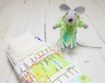 Christmas Gift for Kids Felt kit felt doll stuffed animals felt animals felt mouse light blue small mice in a matchbox manhattan map