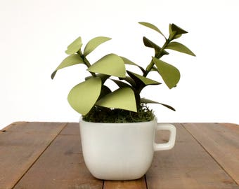 Milk Glass Teacup Paper Plants