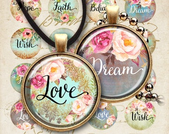 """Printable Digital Download Circle Images LOVE DREAM HOPE three sizes of 1"""" (25mm) + 20 mm + 1.5"""" for pendants bottle caps bezel cabs magnets"""