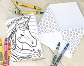 Unicorn Mother's Day Card INSTANT DOWNLOAD Magical Mom Rainbow Girly Sweet Coloring page greeting card printable craft classroom activity