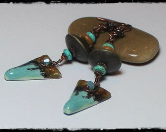 Handmade Jewelry, Handmade Earrings,  Beaded Earrings, Porcelain, Crystal, Gemstone, Wood, Aqua, Turquoise, Antique Copper, Artisan, Boho