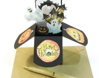 Handmade Halloween Pop Up Card, Halloween Party Invitation, Spooky Haunted House, 3D Pop Up Cards, Cute Halloween Card, Kid's Halloween Card