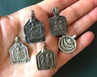 Vintage Silver Amulets | Antique Indian Pendants 5 Goddess Plant Pendants Indian Rajasthan Gujarat | Stamped Beads Yoga Religious God Charms