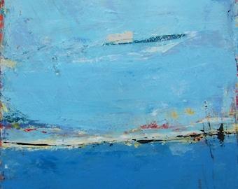 Blue Art Large Original Abstract Landscape Painting by Francine Ethier