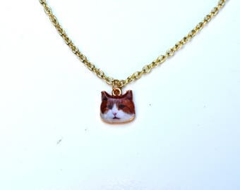 Cat Necklace, Cat Jewelry, Cat Lovers, Cat Lover's Gift, Red Cat, Cat Pendant, enamel cat pendant, Layering Necklace, Funny Necklace