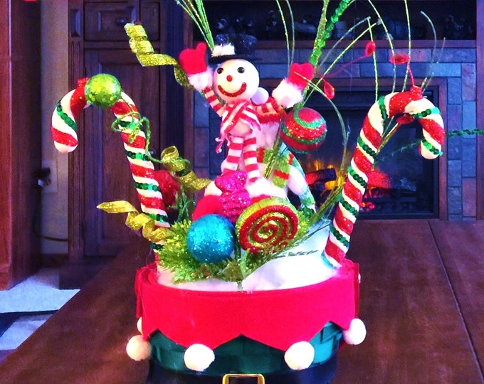 SALE - Santa Elf Basket Snowman Candy Canes - Winter Holiday Christmas Centerpiece